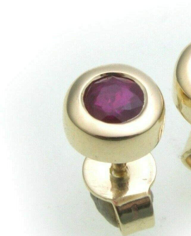 5 mm echt Gold Ohrstecker 333 Gelbgold 8 Karat Rubin rot Ohrringe neu