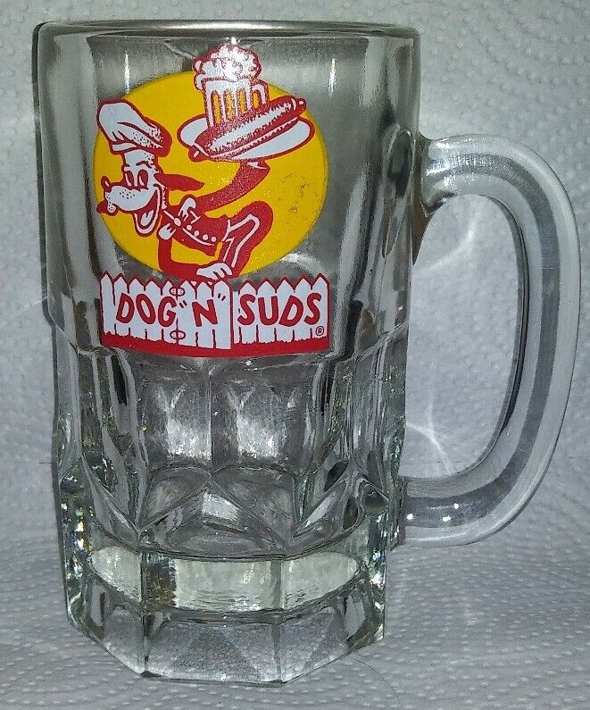 "Vintage Dog N Sudz Hot Dog Drive In Restaurant Chain 6"" Glass Root Beer Mug"