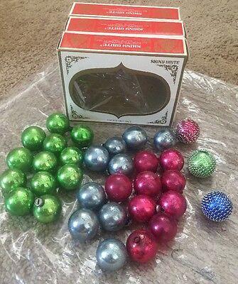 Vintage SHINY BRITE Lot MINI CHRISTMAS TREE Glass ORNAMENTS BOX Japan