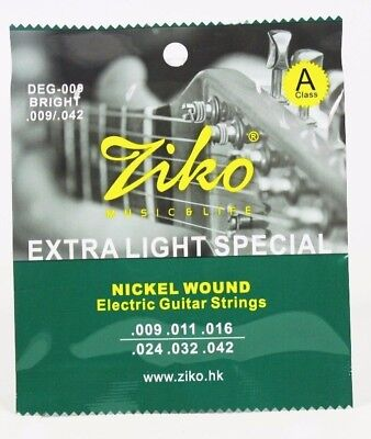 Ziko Electric Guitar Strings Set Extra Light Soft Electric 009 UK SHIPPING