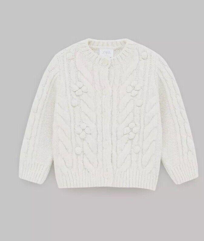 Zara Baby Girl Cable Knit Jacket Cardigan Ivory Size 18-24