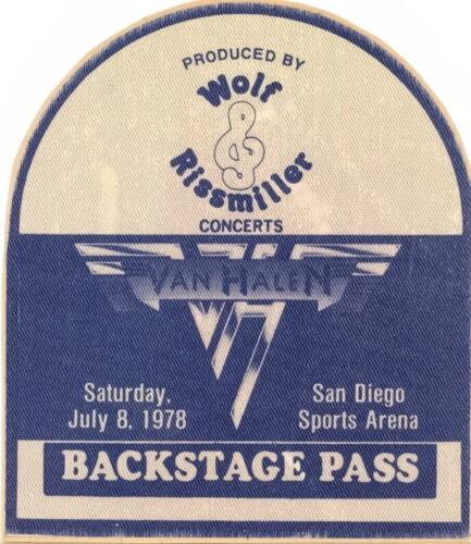 VAN HALEN 1978 WORLD TOUR SAN DIEGO SPORTS ARENA BACKSTAGE PASS NM 2 MNT / EDDIE