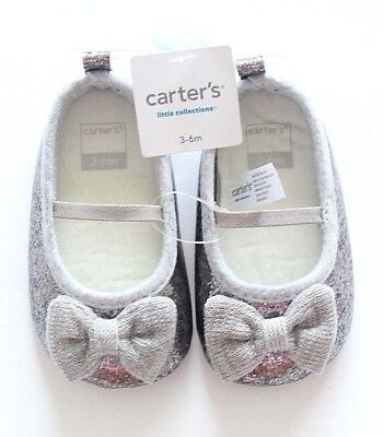 New Carter's Infant Girl Shiny Silver Gray Shoes with Bow Size 3-6 months
