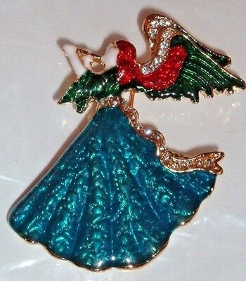 TEAL BLUE RED HAIR ANGEL BROOCH RHINESTONES GOLD PIN WITH HORN OR FLUTE