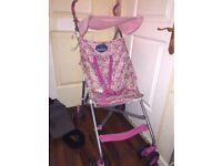 BabyStart lightweight pink floral buggy