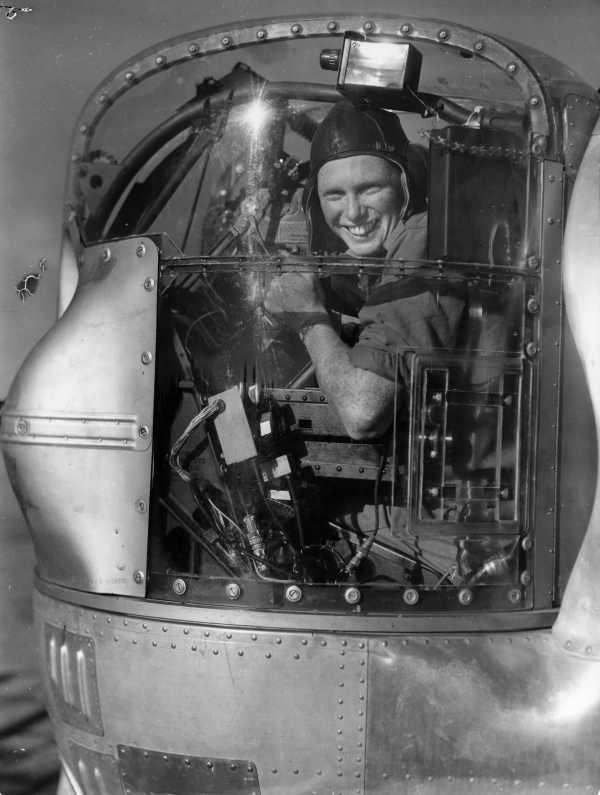 WWII B&W Photo Australian B-24 Nose Gunner in the Pacific RAAF WW2 / 1284