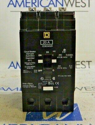 Square D Edb34020 20 Amp 480y277 3 Pole Edb Bolt On Circuit Breaker Tested