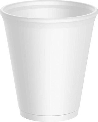 100 - 12oz DART WHITE FOAM / POLYSTYRENE DISPOSABLE PARTY CUPS + FREE DELIVERY