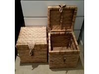 Matching wicker storage boxes