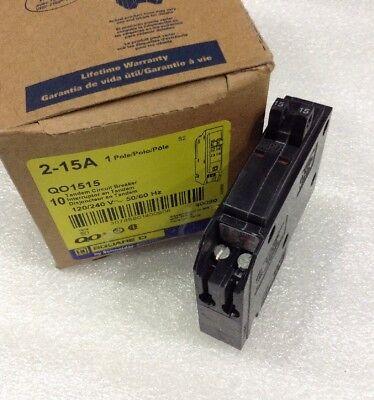 Qo1515 Square D Circuit Breaker 15 Amp 1 P 240v New Box Of 10