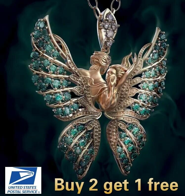 Jewellery - Crystal Angel Wings Butterfly Pendant Necklace Faith and Love Jewelry Fashion