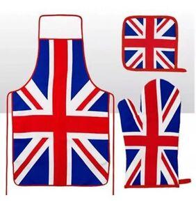 Union Jack Apron, Oven Mitt & Pot Holder London Souvenir Gift