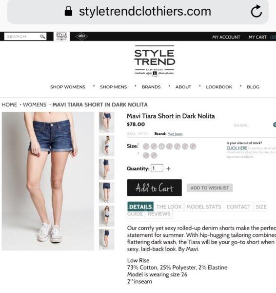 9656c2571e Mavi Jeans 'Tiara' Short Shorts - Size 29 | Shorts | Gumtree Australia  Nedlands Area - Shenton Park | 1208633848