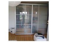 IKEA PAX 'STORDAL'WARDROBE ALLUMINIUM/ GLASS SLIDING DOORS