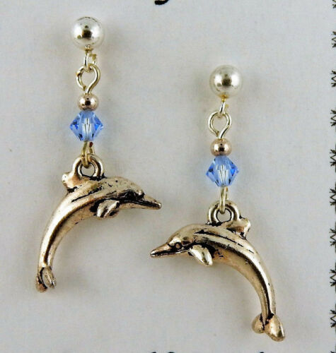 Sterling Silver Post Dolphin earrings w/ Sapphire blue Swarovski Crystal beads