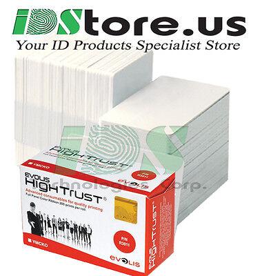 Evolis R3011 Ymcko Color Ribbon   200 Blank White Pvc Cards Bundle