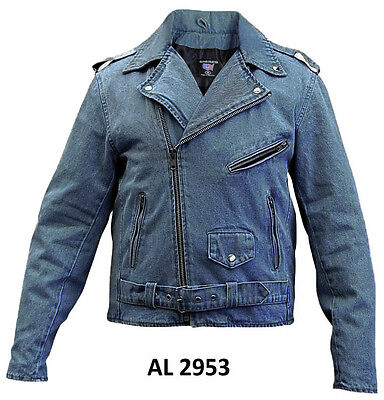 Blue Denim Cotton Jean Classic Biker Motorcycle Jacket, Polyester Lining