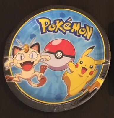 PIKACHU AND FRIENDS  birthday PARTY (8 ct) small paper dessert PLATES  - Paper Dessert Plates