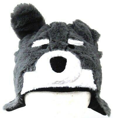 Gray Doggie Dog Puppy Face Fleece Lined Hat One Size Very Clean & Fun to Wear