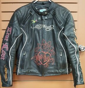 Ed Hardy True Love/Eternal Love Ladies Leather Jacket