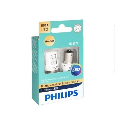 2x PHILIPS ULTINON 1156 AMBER 1156AULAX2 INTERIOR SIGNALING STOP TAIL BACKUP LED