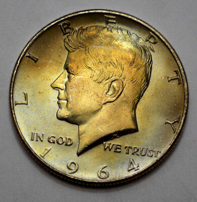 1964 Natural - 1964-P MS UNC NATURAL TONING KENNEDY HALF DOLLAR 90% Silver, 50c !