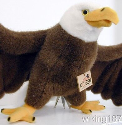 KOSEN Made in Germany NEW American Bald Eagle with Tail Feather Detail Plush (American Made Toys)