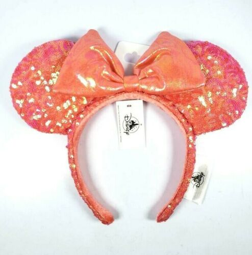 New Disney Parks Minnie Ears Coral Sequin Metallic Bow Adult Headband One Size