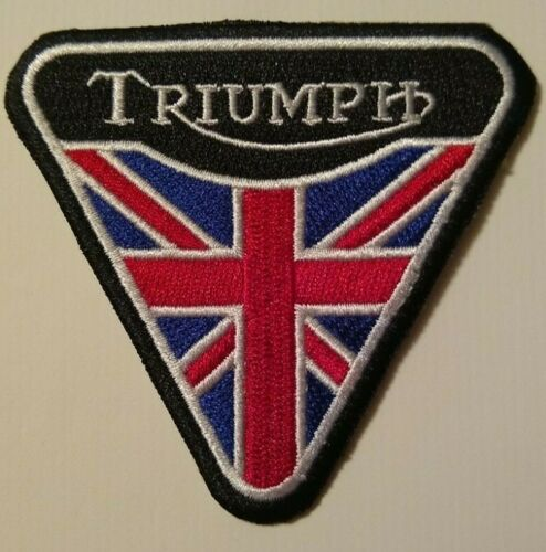 """Triumph Motorcycle Biker British Embroidered Patch~3 1/8"""" x 2 7/8""""~Iron Sew On"""
