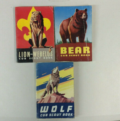 Three Vintage Cub Scout Books - Wolf, Bear, Lion - Webelos - Early 1960s Vintage