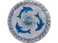Dolphin Mosaic Tile Wave Wallpaper Border 49-068