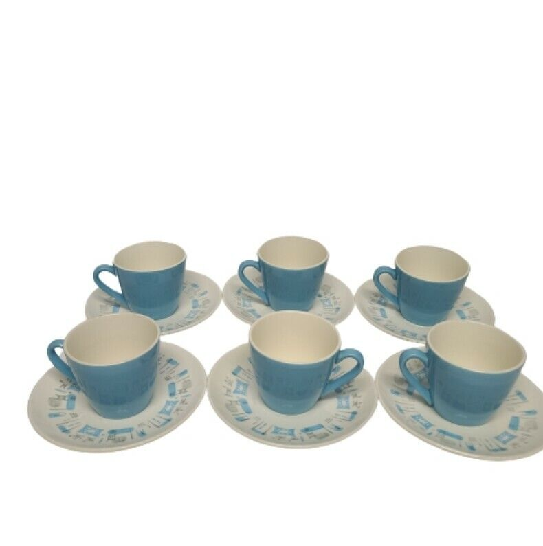 Lot of 6 Vintage Royal China Blue Heaven Cups and Saucers Mid Century Modern