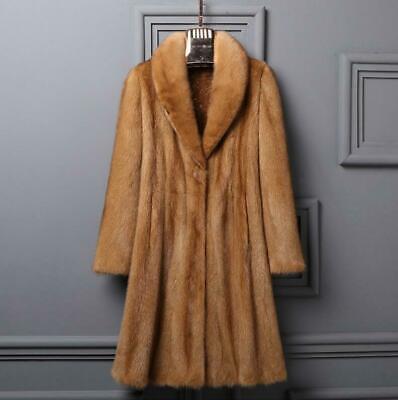 Real Genuine Mink Fur Long Ladies Coat Lapel Thick Winter Jacket Warm Parka -