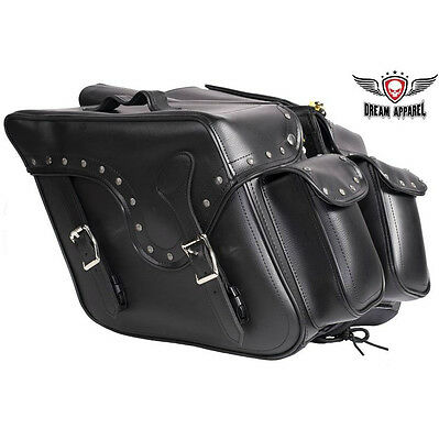 Throw-Over Saddle Bags Black, Heavy Duty Motorcycle Biker Luggage Waterproof Bag
