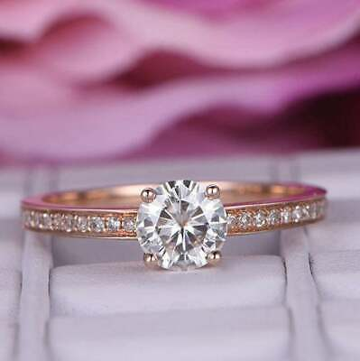 Delicated 2Ct Round Cut VVS1 Diamond Solitaire Engagement Ring 14K Rose Gold FiN 2 Ct Diamond Solitaire Engagement Ring