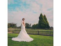 Beautiful lace wedding dress.
