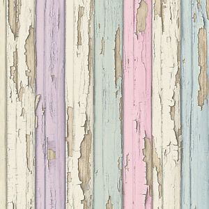 pastel purple pink green blue timber wood look wallpaper