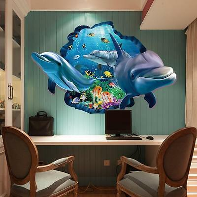3D Effect Underwater World Dolphin Fish Sofa Background Wall Sticker Decal US