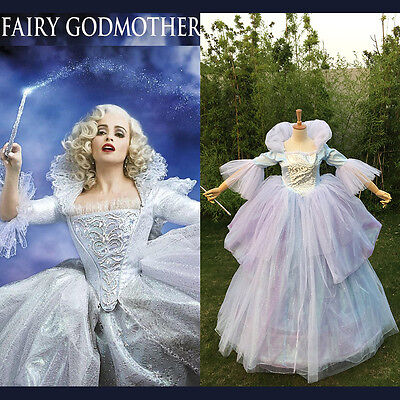 Cinderella Princess Fairy Godmother Halloween Cosplay Costume Women Fancy Dress ](Fairy Godmother Halloween)