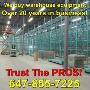 We buy all your pallet racking and other warehouse equipment