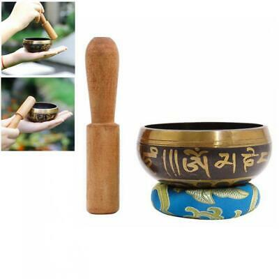 Tibetan Singing Bowl Meditation Gong Zen Yoga Bowl Set W/ Striker Cushion Pillow