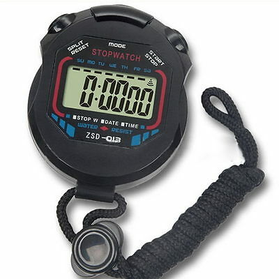 LCD Digital Chronograph Timer Counter Stop Watch Alarm Sports Stopwatch Handheld