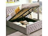 AVAIL THIS OFFER NOW-Plush Velvet Heaven Ottoman Storage Bed Frame in Grey Color-Optional mattress