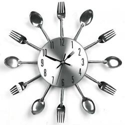 Modern Design Silver Cutlery Kitchen Utensil Wall Clock Spoon Fork Watch