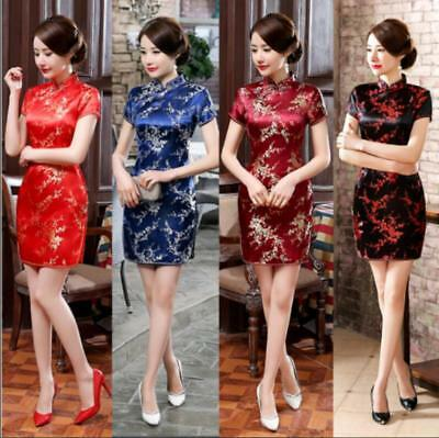 Sexy Traditional Chinese Women's Silk Satin Mini Dress Cheongsam Qipao SZ S-6XL* Chinese Silk Cheongsam Dress