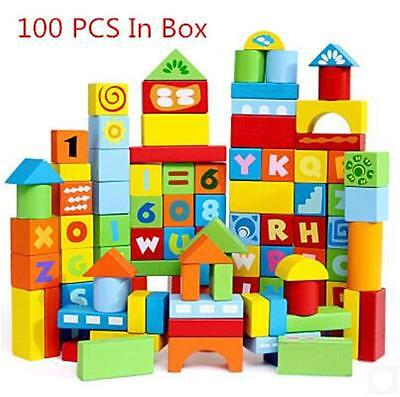 100 pcs Wooden Colorful Building Blocks Letters Numbers Bricks with Carry Bag