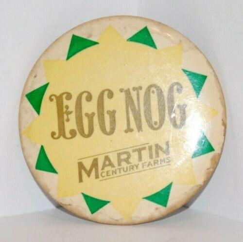 Vintage Advertising Pinback MARTIN CENTURY FARMS - Egg Nog - Lansdale, PA