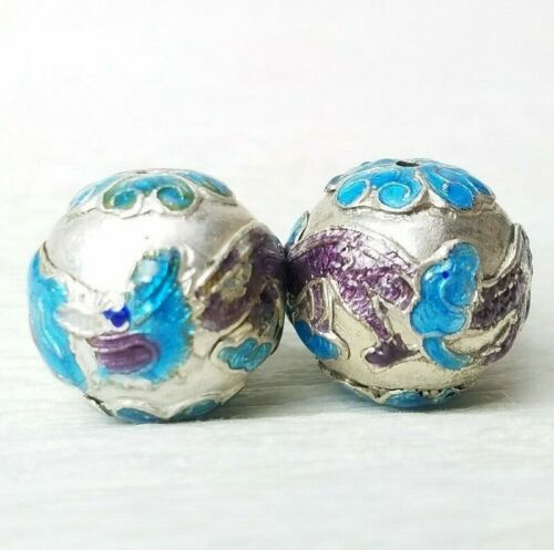 Chinese Enamel Dragon Aqua Purple Amethyst Silver Beads Nicely Made 17mm 2Pcs