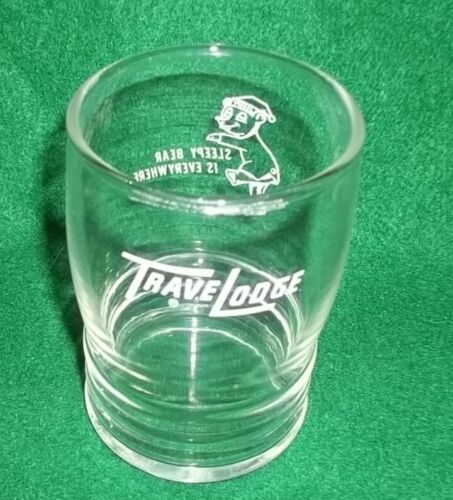 Vintage TraveLodge Sleepy Bear is Everywhere Drinking Glass - Nice!