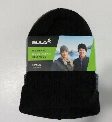 BULA Stretch Winter Hat Unisex Lot of two Black Gray Knit One Size  NEW Bula Winter Hat